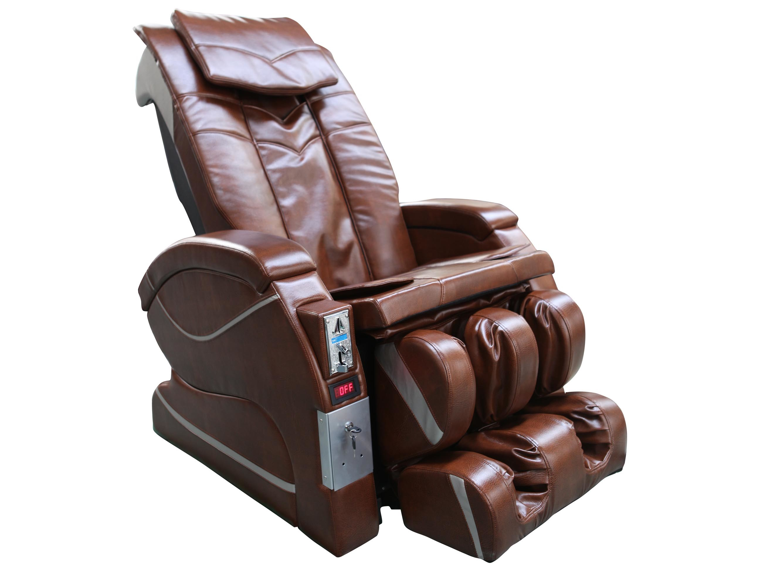 Brown Leisure Recliner Chair Ottoman With 8 Motor Massage fice
