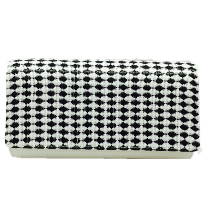 White Party Bag Check Fashion Evening Bag Woven clutch