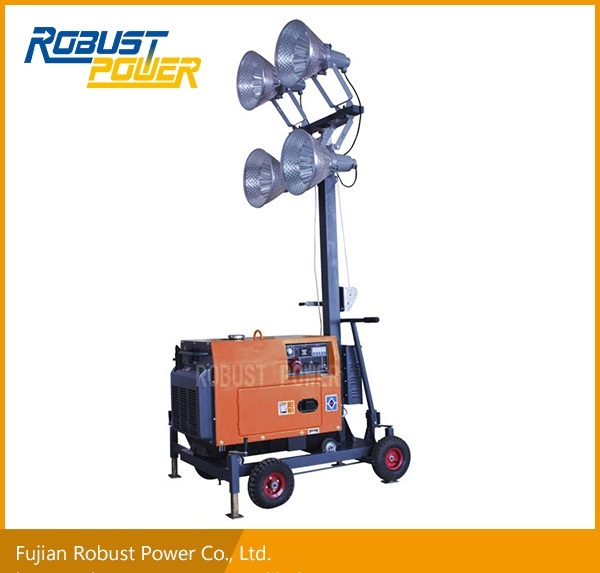 Silent Portable Push Handle Diesel Mobile Lighting Tower