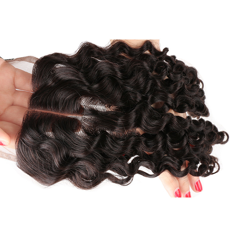 7A Grade Brazilian Deep Wave Lace Closure Virgin Hair Closure 100% Human Hair Free Middle Three Part High Quality Free Shipping