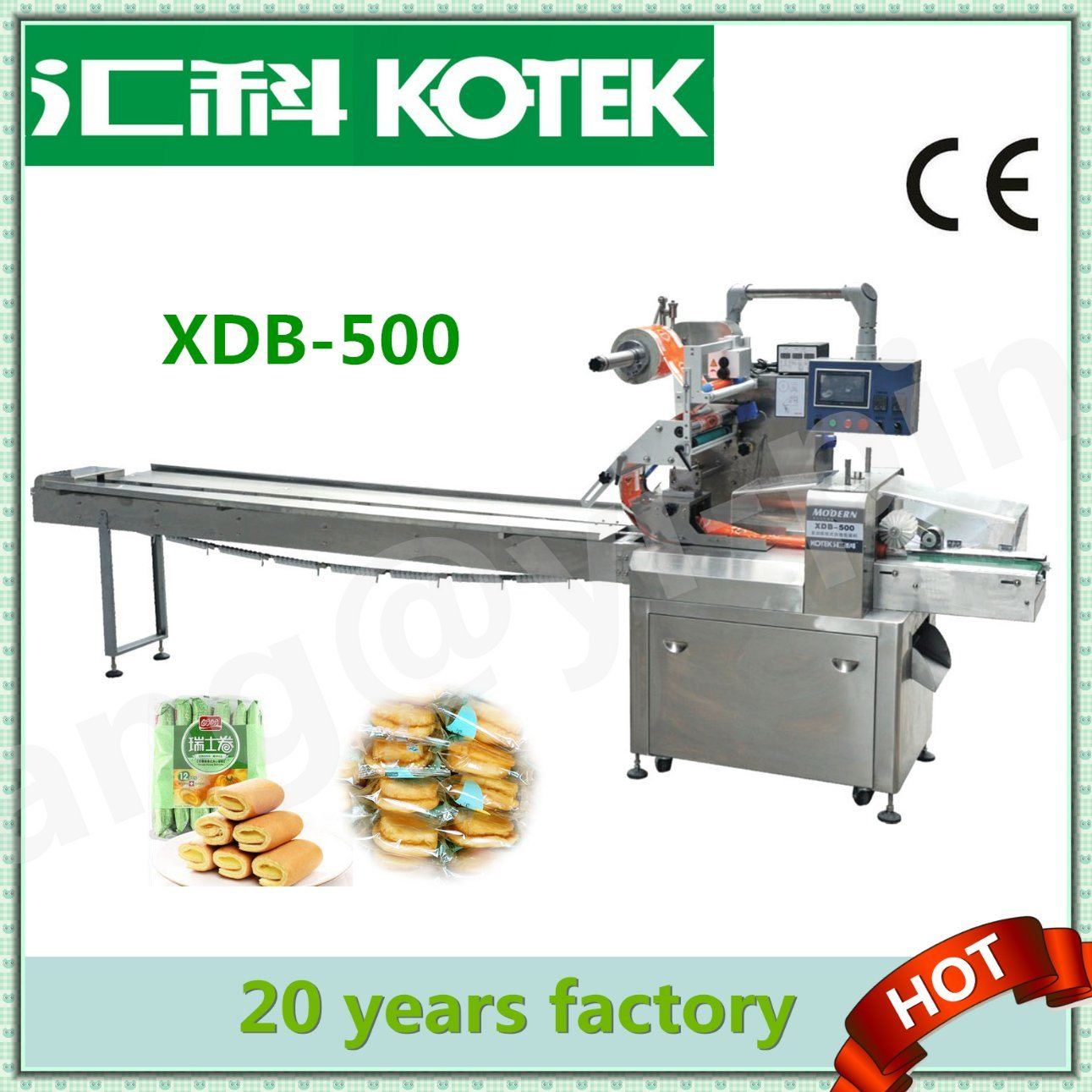 Stainless Steel 500 Multifunctional Bread Pillow Packing Machine Pillow Pack Wrapping Equipment