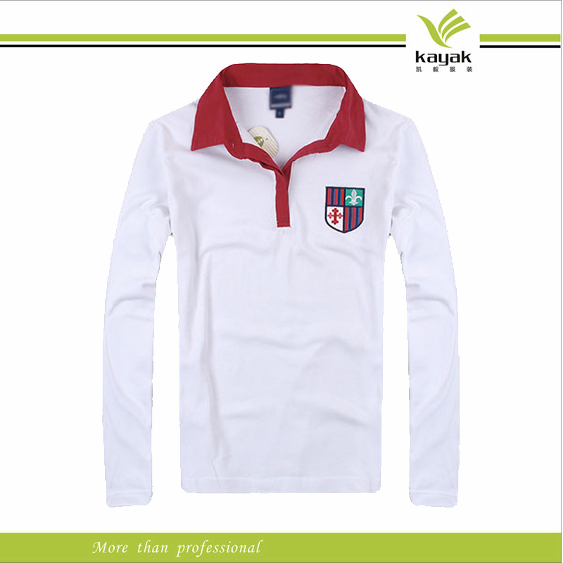 China custom made white cotton embroidered long sleeve for Custom tailored polo shirts