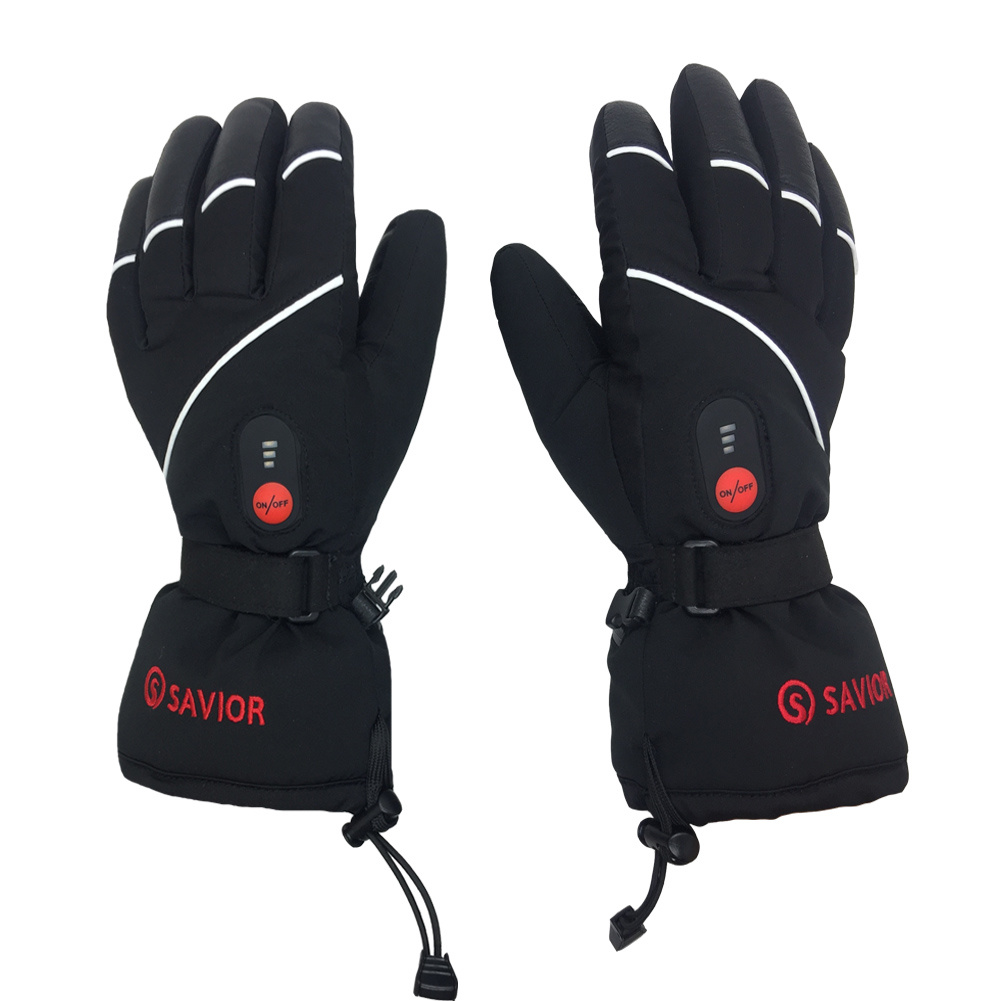 SAVIOR S15   Waterproof Genuine Leather Rechargeable Battery Heated Gloves Skiing Gloves Sport Gloves  (Unisex, full size black)