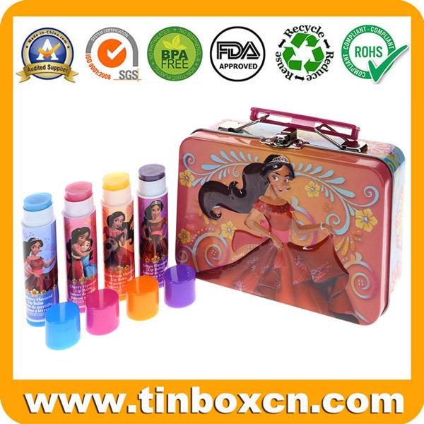 Metal Tin Gift Box with Handle for Fruit Lip Balm