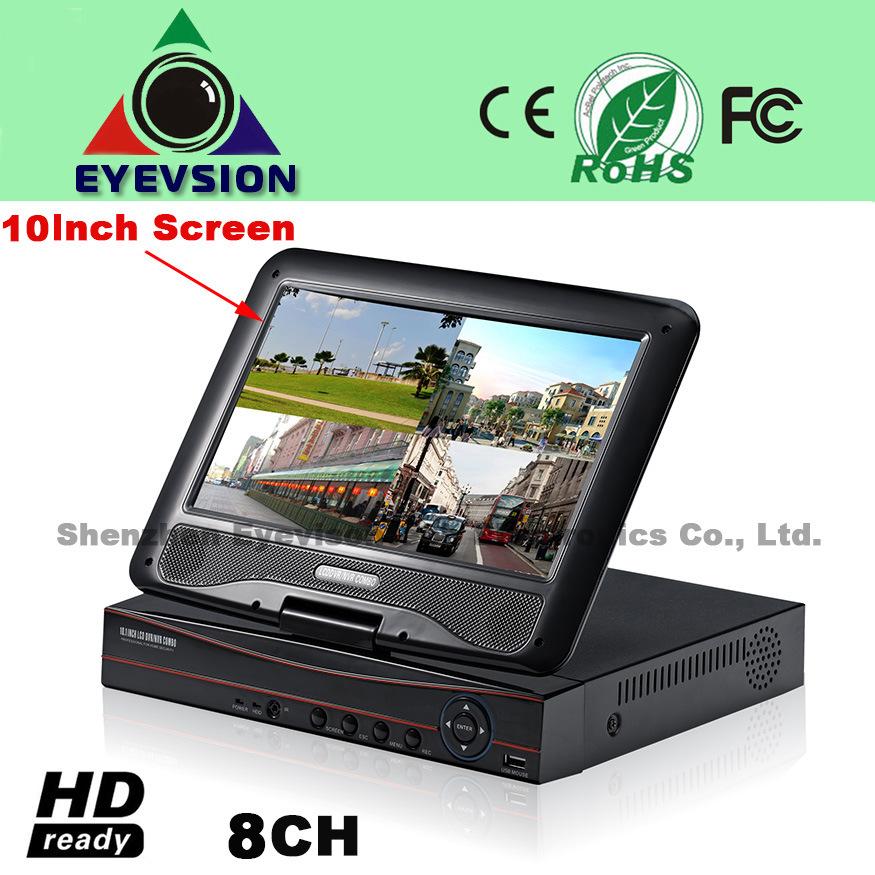 10.1 Inch LCD 8CH H. 264 Network DVR Security DVR (EV-S1003-8CH)