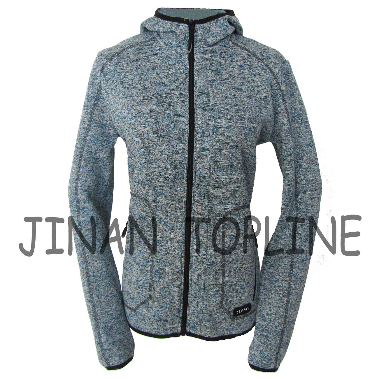 Women Long Zipper Cationic Hoody Fleece Jacket