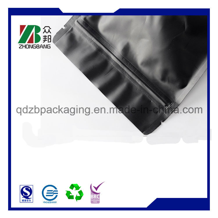 Matt Black Plastic Aluminum Foil Coffee Packaging Bag with Valve