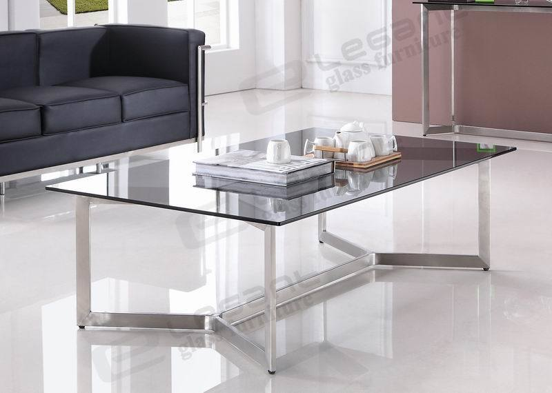China Long Grey Glass Center Table Stainless Steel Coffee Table Ca826g Photos Pictures Made