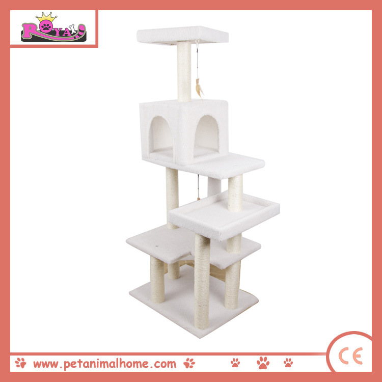 "60"" Large White Cat Tree with Condo House"
