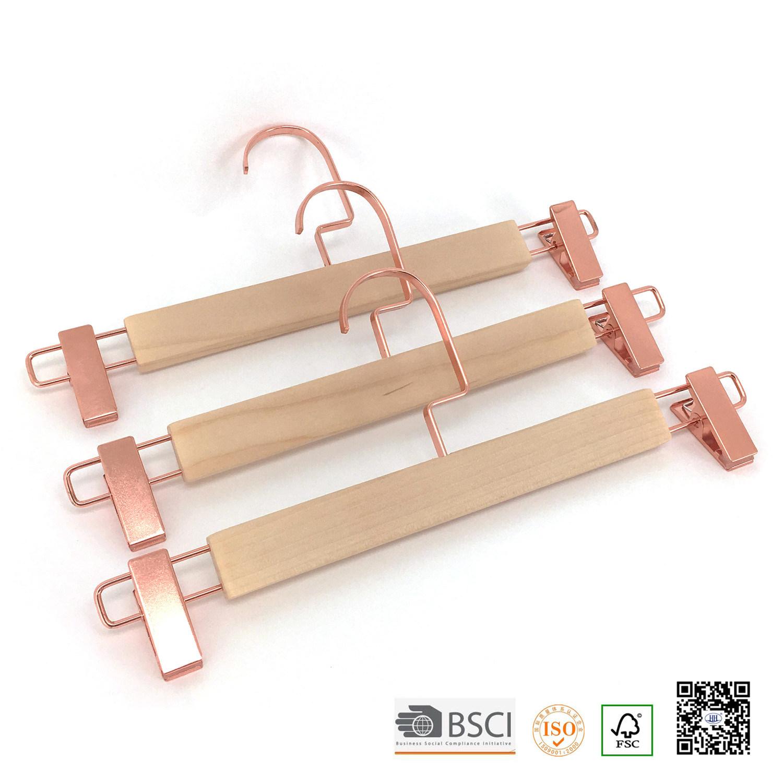Eco Timber Gold Clips Bottom Custom Wood Cloth Hanger