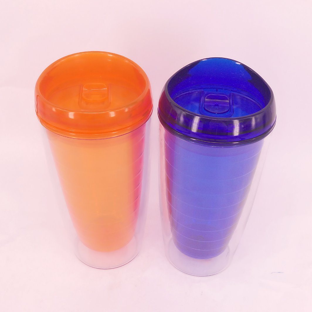Food-Grade Double Wall Plastic Tumbler with Straw 16oz