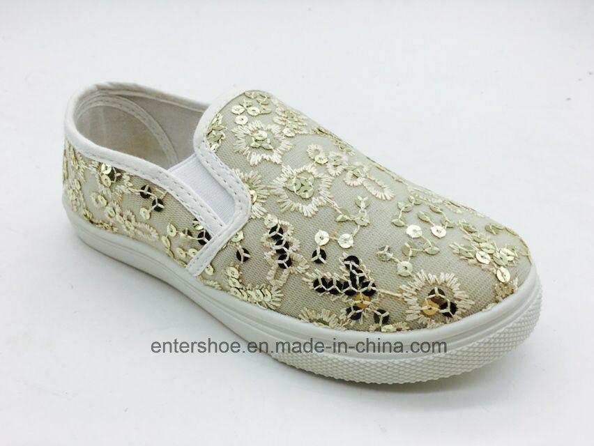 Gold Color Children Leisure Shoes with PVC Outsole (ET-AL160250K)
