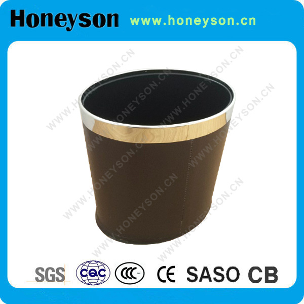 Honeyson Hotel Bathroom Accessory Oval Double Layer Bin with Brown PU Leather
