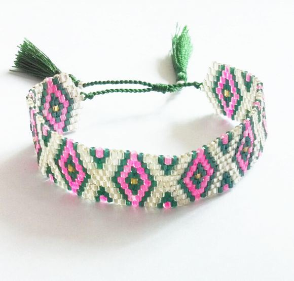High Quality Beaded Bracelet with Tassel Ends