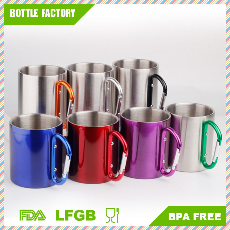 18-8 Stainless Steel Coffee Mug Camp Camping Cup Carabiner Hook Double Wall BPA Free Mug Outdoor Mug