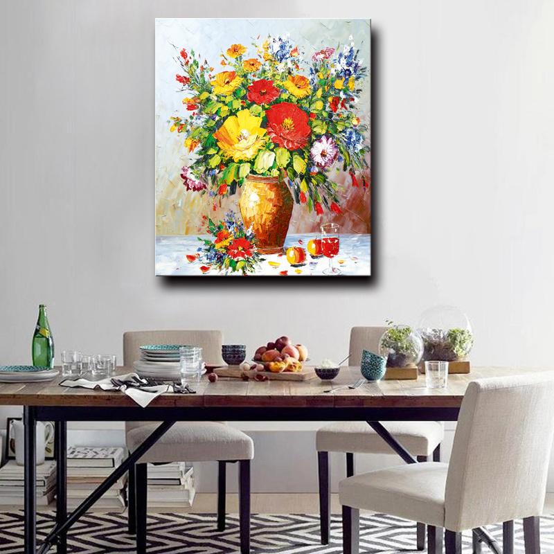 100%Handmade Decoration Flower Oil Painting on Canvas, Still Life Flower