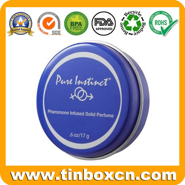 Round Small Solid Perfume Tin Box for Cosmetics
