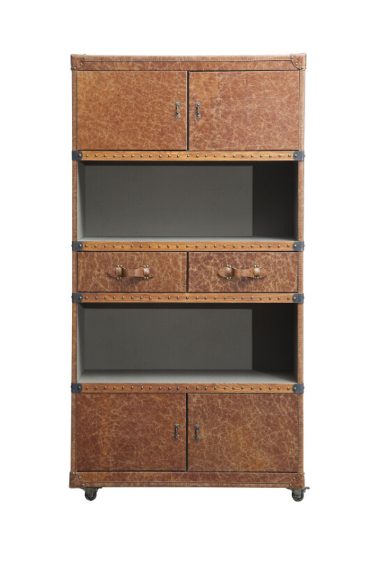 Customized Antique Leather Combination Bookcase, Household Furniture Bookcase