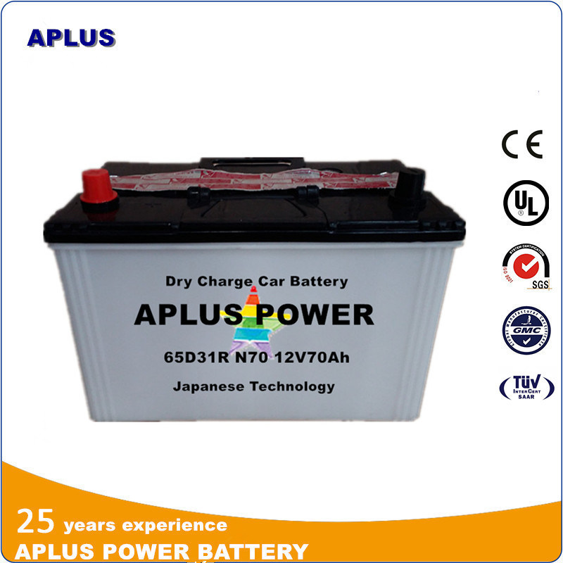 Rechargeable Dry Charge Lead Acid Storage Auto Battery 12V70ah 65D31r