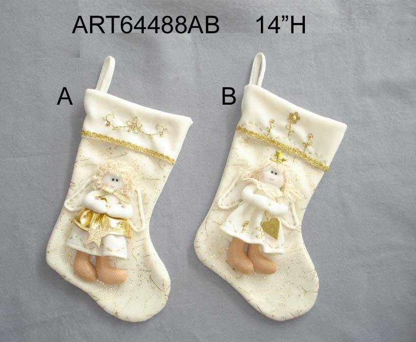 Christmas Home Decoration Angel Stocking, 2asst