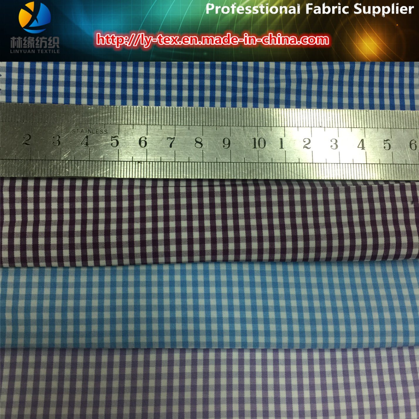 Plain Polyester/Cotton Yarn Dyed Check Fabric for Women Shirt