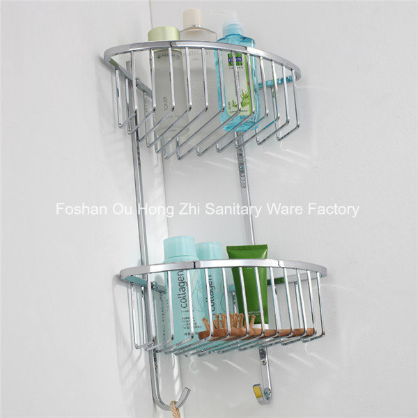 Chromed Plated Bathroom Removable Corner Shelf Triangle Rack with Two Tier