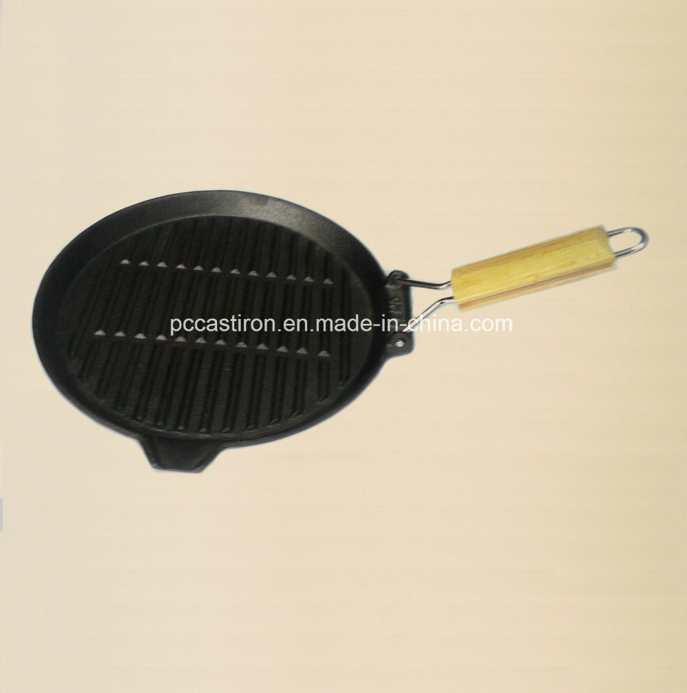 Non-Stick Cast Iron Skillet with Wooden Handle Manufacturer From China