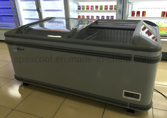Supermarket Large Capacity Auto Defrost Combine Island Freezer with Curve Glass Door
