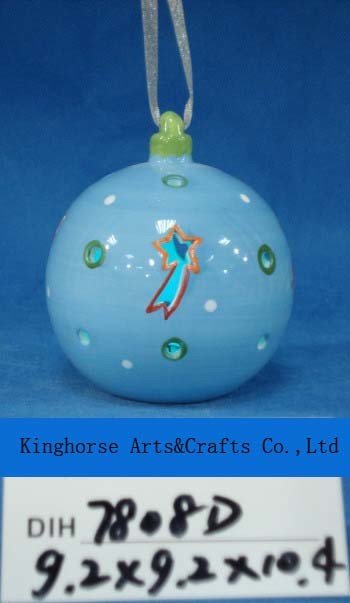 Round Ceramic Hanging Baubles for Christmas Decoration