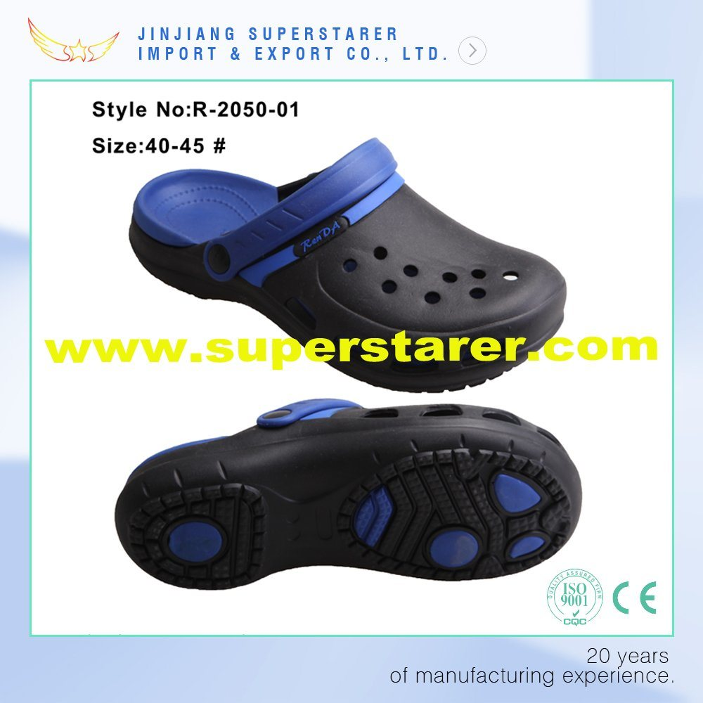 Customized Fashion Holey Men EVA Clogs, Durable Fashion EVA Clogs with Two Layer Colors