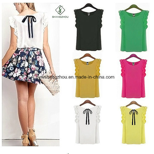2017 Fashion Women Sleeveless Chiffon Blouse T-Shirt with Bowknot