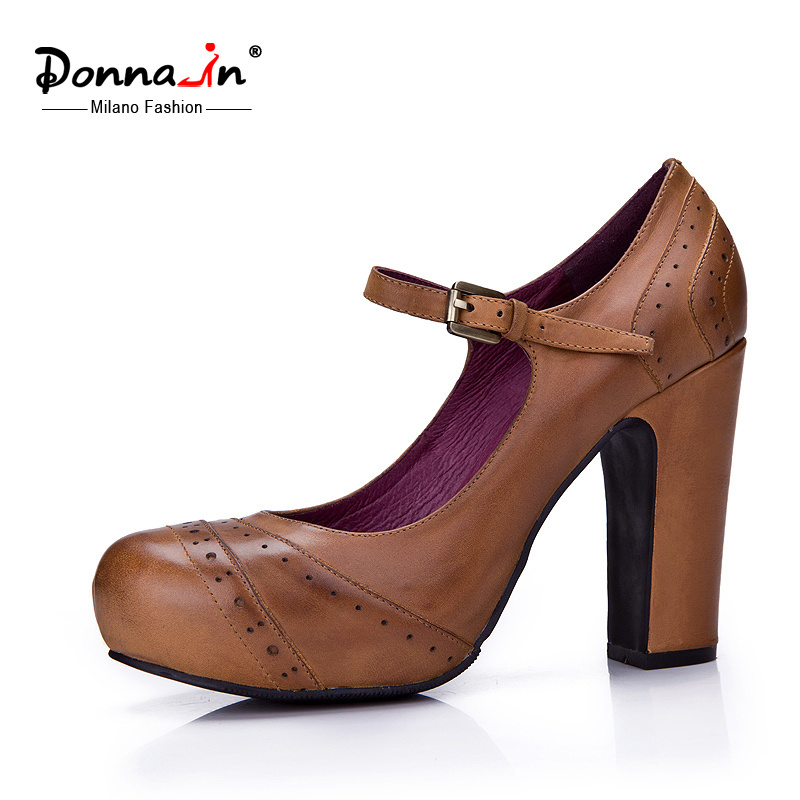 Lady Brogue Leather High Heels Pumps Mary Jane Platform Women Shoes