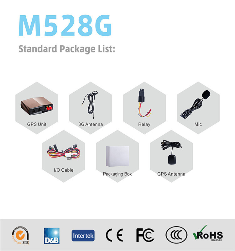 3G GPS Tracker Support Relay Fuel Sensor with Free Platform Support M528g