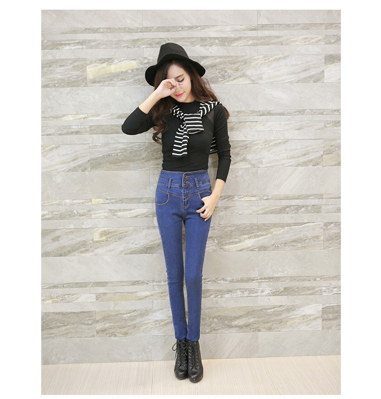 New Ladies Fashion Denim Jeans High Waist Skinny Jeans