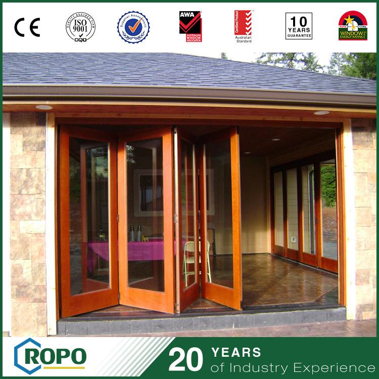 Chinese PVC Interior Folding Door Wood Color Front Garage Exterior Door Design