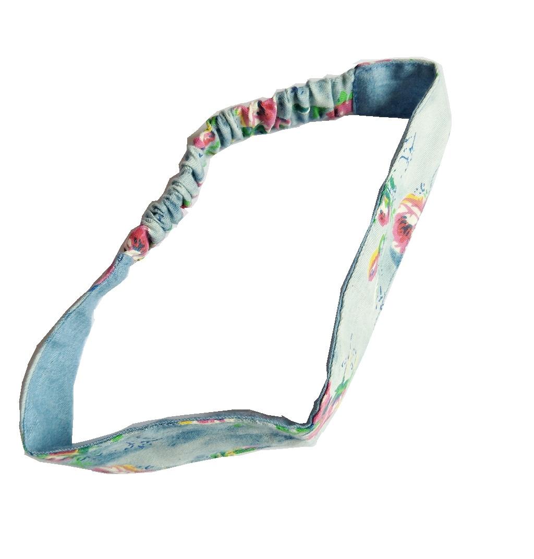 Retro Denim with Printed Flowers High Quality Headbands