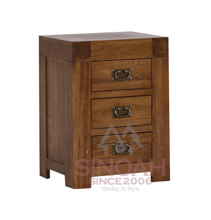 China chunky solid oak drawer bedside furniture