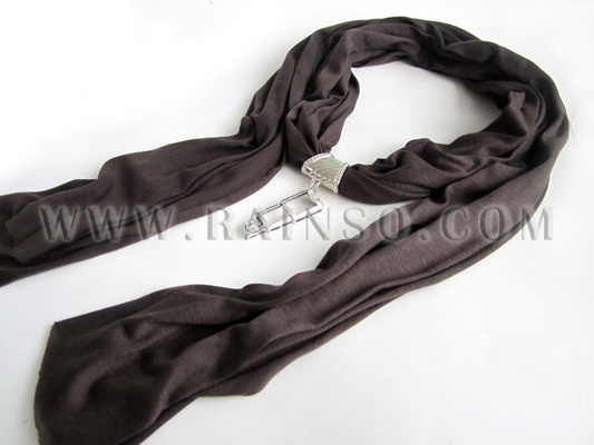 china grey name brand scarf with jewelry pendant ofn