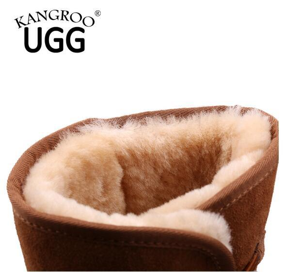 Double Face Sheepskin Winter Unisex Boots in Chestnut
