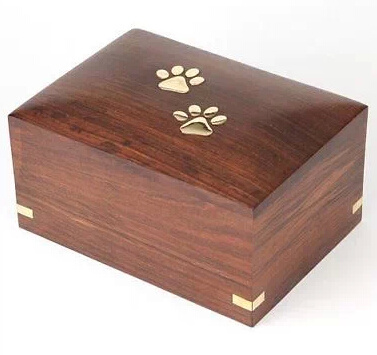 High Quality Wooden Pet Urn with Golden Logo