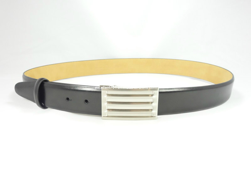 Classic Men′s Leather Belt with Plain Buckle (EUBL0691-35)