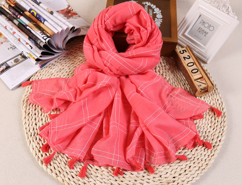 Hot Sale Plain Color Cotton Checked Lady Scarf