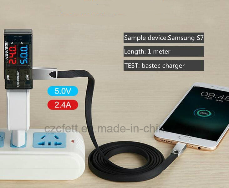 New Zinc Alloy Flat Wire Charger&Transfer Data Android Cable