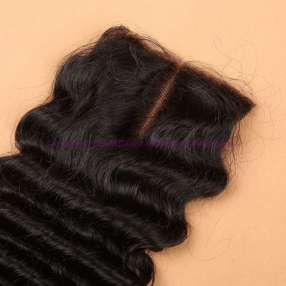 Malaysian Deep Wave Closure 4*4 Silk Base Closure 8A Unprocessed Hair Silk Base Closure