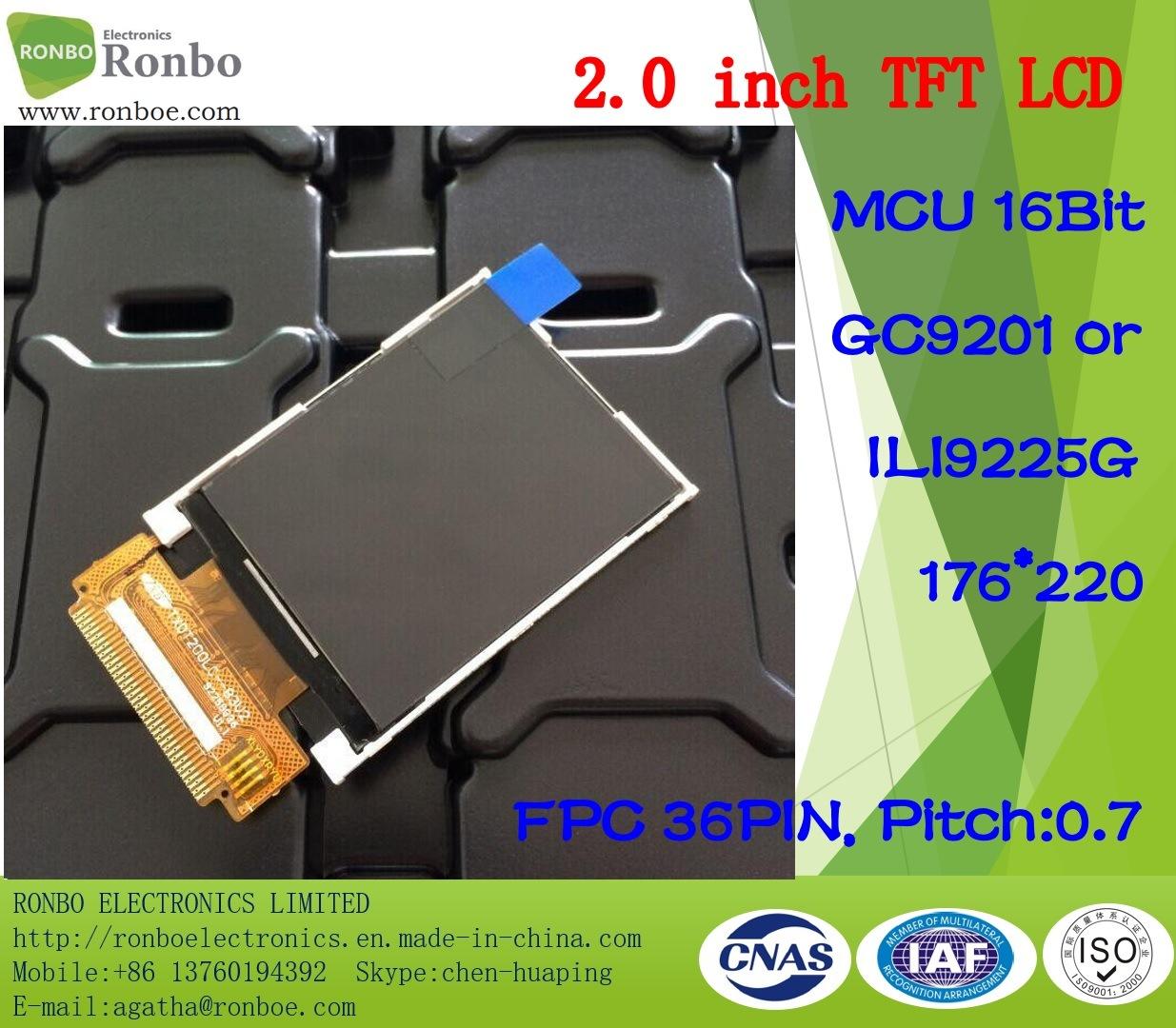 2.0 Inch 176*220 MCU 16bit 36pin TFT LCD Panel, Option Touch Screen