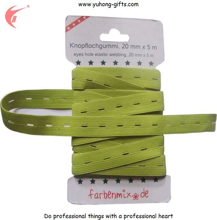 Green Color Button Hole Elastic Tape for Garment (YH-ET019)