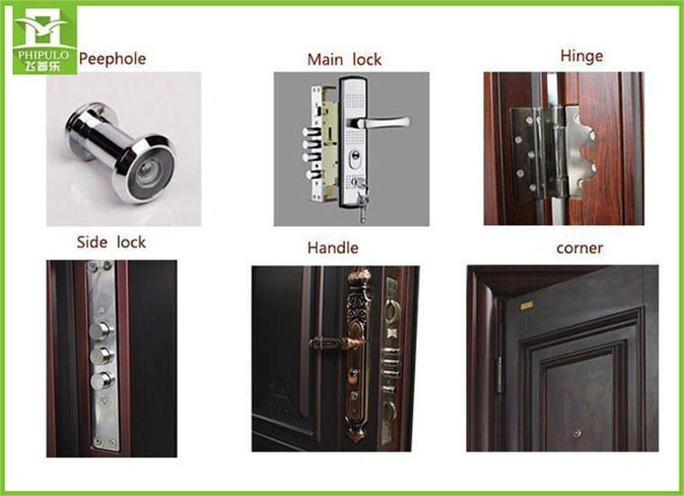 Safety Iron Main Exterior Door Designs with Metal Door Handle