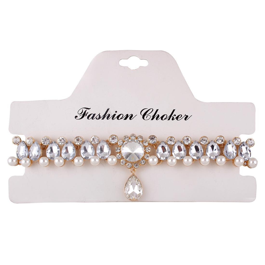 Fashion Luxury Diamond Rhinestone Pearl Pendant Choker Necklace Jewelry