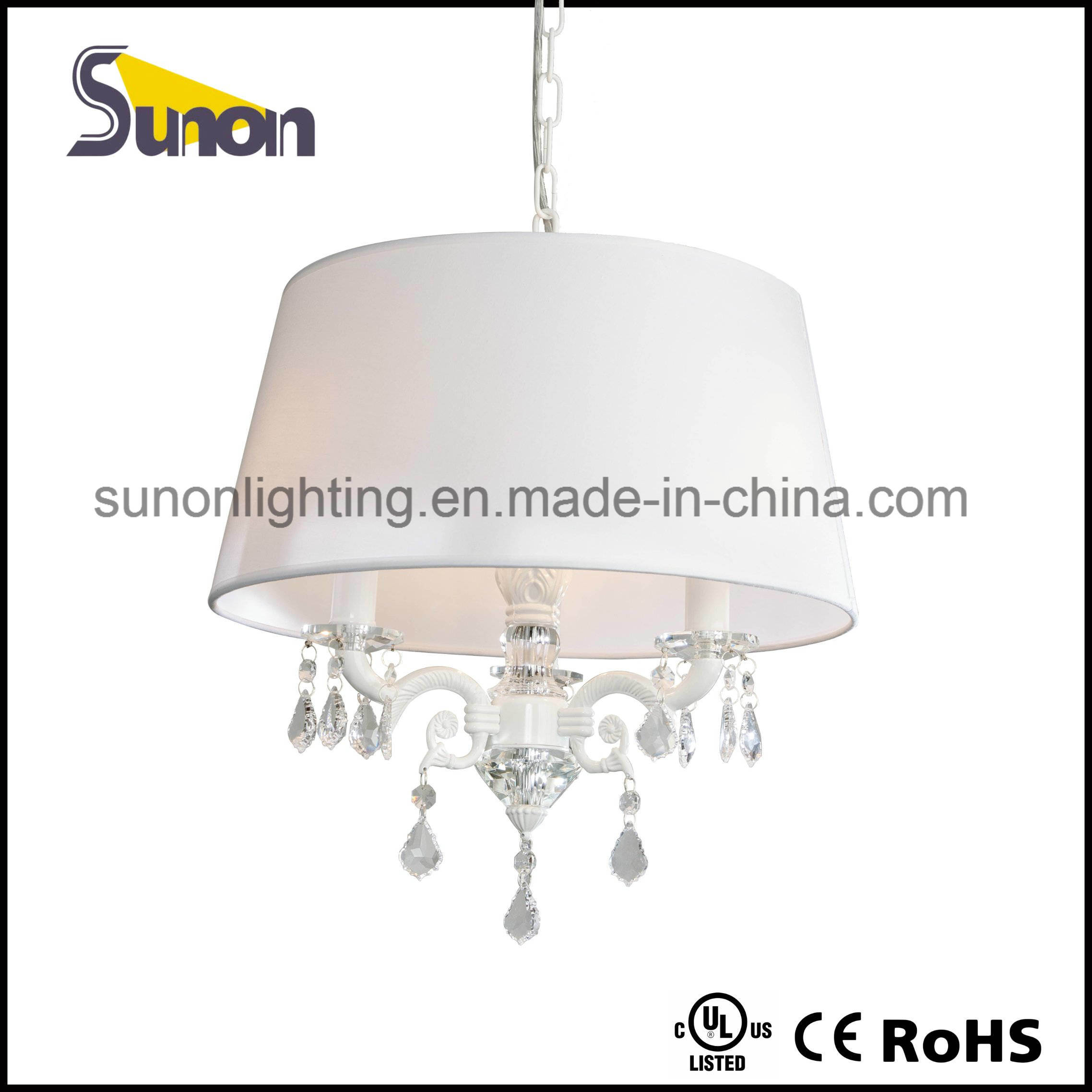 White Drum Shade Crystal Chandelier Pendant Lamp