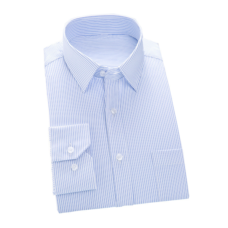 Classical Design Men′s Formal Blue Color Dress Shirt of Cotton